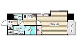 Pi'ece charmante Fukushima 3階1Kの間取り