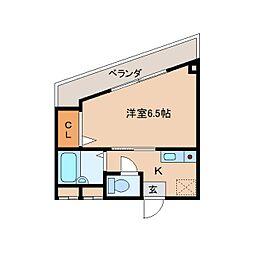 奈良県奈良市角振新屋町の賃貸マンションの間取り