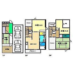 テラスハウス[1階]の間取り