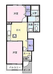 静岡県島田市稲荷1丁目の賃貸アパートの間取り