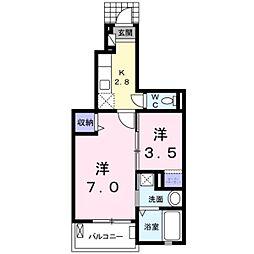 千葉県松戸市五香南1丁目の賃貸アパートの間取り