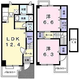 群馬県前橋市富士見町原之郷の賃貸アパートの間取り