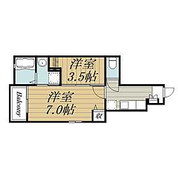JR東金線 東金駅 徒歩7分の賃貸アパート 1階2Kの間取り