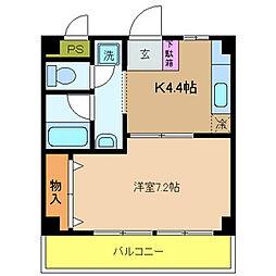 大阪府八尾市東山本町1丁目の賃貸マンションの間取り