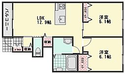 クオーレ大町東B棟[1階]の間取り