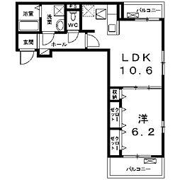 ハイツウィスタリアB[2階]の間取り