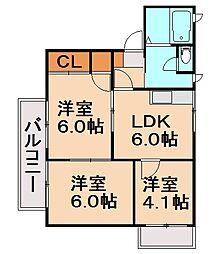 コーポホワイト[2階]の間取り