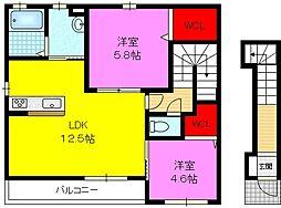 シャーメゾン稲田本町(A棟)[2階]の間取り
