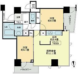 ベルファース大阪新町 15階2LDKの間取り