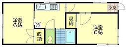 タウニィ石川[101号室]の間取り
