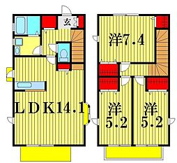 [一戸建] 千葉県松戸市二十世紀が丘中松町 の賃貸【千葉県 / 松戸市】の間取り