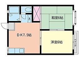 神奈川県茅ヶ崎市中海岸4丁目の賃貸アパートの間取り