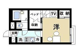 レオパレスTakuyaIII 1階1Kの間取り