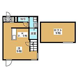 Maison de Beaut 1階ワンルームの間取り