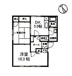 広島県東広島市八本松東2丁目の賃貸アパートの間取り