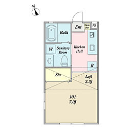 JR総武線 新小岩駅 徒歩10分の賃貸アパート 2階1Kの間取り