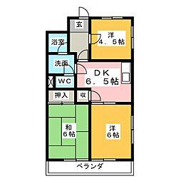 スカイハイム[1階]の間取り