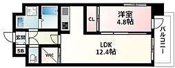 おおさか東線 南吹田駅 徒歩4分の賃貸マンション 8階1LDKの間取り