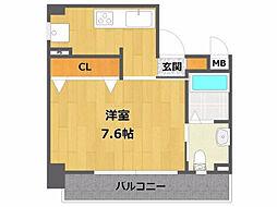 ロイヤルメゾン宝塚 3階1Kの間取り