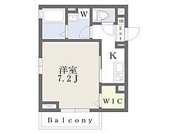 和泉ハウス 3階1Kの間取り