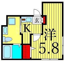 つくばエクスプレス 浅草駅 徒歩13分の賃貸マンション 3階1Kの間取り