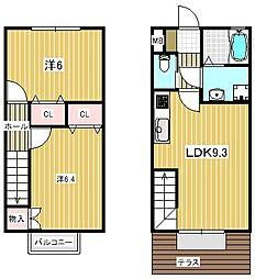 大阪府高槻市緑町の賃貸アパートの間取り