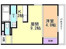 ラリマール 3階1LDKの間取り