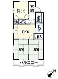 ローズハウス一本木[2階]の間取り