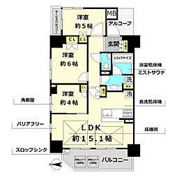 クレヴィア大阪同心ウエスト 3階3LDKの間取り