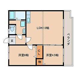 静岡県静岡市清水区有東坂2丁目の賃貸マンションの間取り