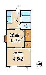 千葉県松戸市小根本の賃貸アパートの間取り