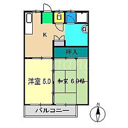 ヤマサキハイツ[2階]の間取り