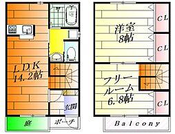 [テラスハウス] 大阪府箕面市粟生間谷東5丁目 の賃貸【/】の間取り