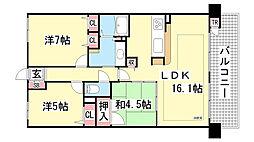 ディオプレステージ新神戸熊内レジデンス[403号室]の間取り