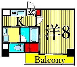JR山手線 日暮里駅 徒歩11分の賃貸マンション 3階1Kの間取り