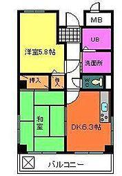 大阪府堺市中区八田西町2丁の賃貸マンションの間取り