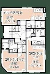 小田急小田原線 千歳船橋駅 徒歩11分の賃貸マンション 3階1Kの間取り