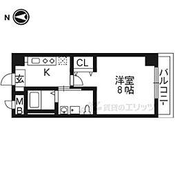 かぐや姫タワービル 6階1Kの間取り