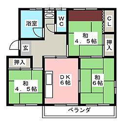 朝倉団地102号棟 401号室[4階]の間取り