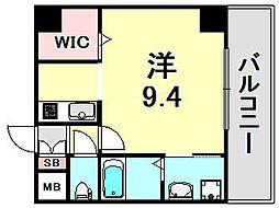 リベルテ神戸 6階1Kの間取り