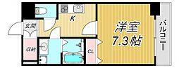PEER武庫之荘 2階1Kの間取り