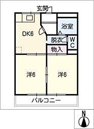 柳ヶ丘ハイツA・B棟[2階]の間取り