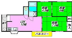ピースハイツ長堂B棟 3B号室[3階]の間取り