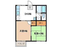 三重県松阪市光町の賃貸アパートの間取り