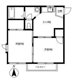 メゾンヤスアキーナA[2階]の間取り