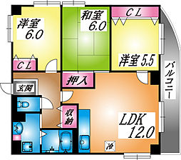 兵庫県神戸市灘区神ノ木通3丁目の賃貸マンションの間取り