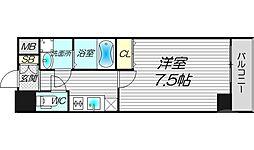 W.O.B.UMEDA 11階1Kの間取り