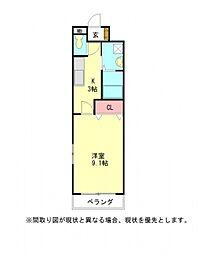 愛知県小牧市大字横内の賃貸アパートの間取り