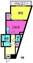 ふぁみーゆ東生駒[6階]の間取り