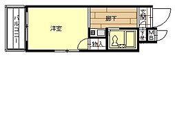 アップル天王寺5階Fの間取り画像